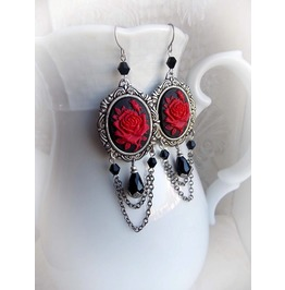 Gothic Earrings Cameo Rose Earrings Victorian Baroque Handmade Jewelry