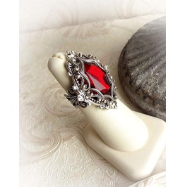 Medieval Vision Red Oval Crystal Ring Gothic Medieval Victorian Ancient Jewelry