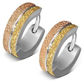 4mm Stainless Steel 3 Tone Sandblasted Stripe Grooved Hoop Huggie Earrings