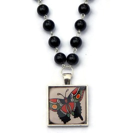 Old School Butterfly Tattoo Black Beaded Necklace