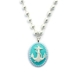 Anchor Cameo And Pearl Necklace In Aqua And White