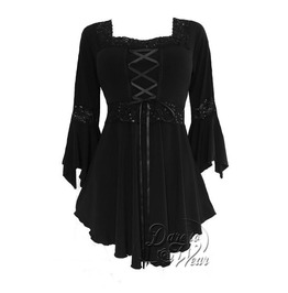 Sexy Gothic Victorian Square Neck Lace Trim Fairy Sleeve Renaissance Corset Top In Obsidian