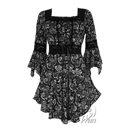 Sexy Gothic Victorian Square Neck Lace Trim Fairy Sleeve Renaissance Corset Top In Mystery