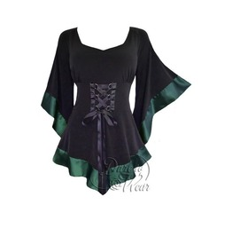 Classy Victorian Gothic Satin Trim Kimono Sleeve Treasure Corset Top In Evergreen