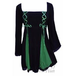 Gothic Victorian Square Neck Lace Trim Twin Corset Gemini Princess Top In Black/Emerald