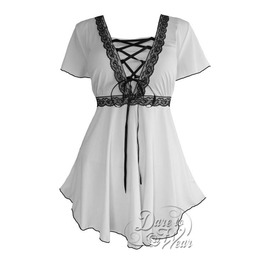 Gothic Victorian Goddess Lace Trim Butterfly Sleeve Babydoll Angel Corset Top In White/Black