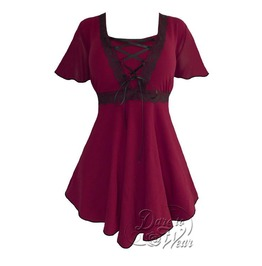 Gothic Victorian Goddess Lace Trim Butterfly Sleeve Babydoll Angel Corset Top In Burgundy/Black