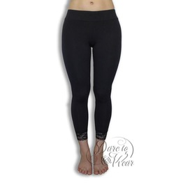 Versatile Super Comfy Wide Elastic Lace Hemmed Harmony Leggings In Black