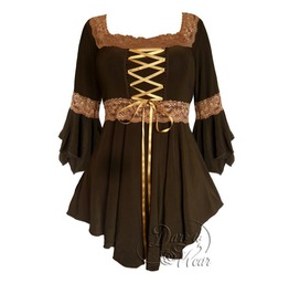 Sexy Gothic Victorian Square Neck Lace Trim Fairy Sleeve Renaissance Corset Top In Brown/Gold