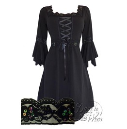 Sexy Gothic Victorian Square Neck Lace Trim Fairy Sleeve Renaissance Corset Dress In Starling