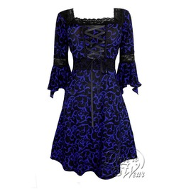 feb27c201c7 Sexy Gothic Victorian Square Neck Lace Trim Fairy Sleeve Renaissance Corset  Dress In Paris By Night