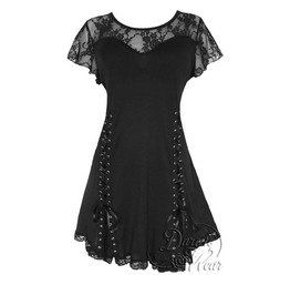 Punk Rock Black Lace Grommeted Twin Corset Roxanne Top In Black