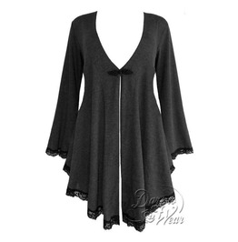 Gothic Victorian Fantasy Back Corset Lace Up Embrace Sweater Duster In Shadow