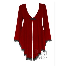 Gothic Victorian Fantasy Back Corset Lace Up Embrace Sweater Duster In Ruby Rune