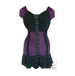 Steampunk Gothic Cap Sleeve Lace Trim Cabaret Corset Top In Purple Maze