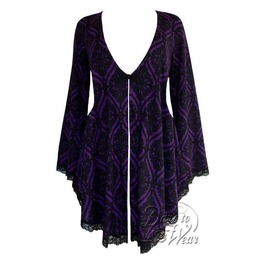 Gothic Victorian Fantasy Back Corset Lace Up Embrace Sweater Duster In Purple Tarot