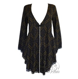 Gothic Victorian Fantasy Back Corset Lace Up Embrace Sweater Duster In Olive Tarot
