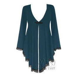 Gothic Victorian Fantasy Back Corset Lace Up Embrace Sweater Duster In Dark Teal