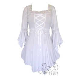 Sexy Gothic Victorian Square Neck Lace Trim Fairy Sleeve Renaissance Corset Top In Icing