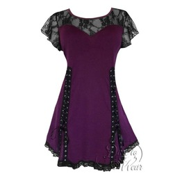 Punk Rock Black Lace Grommeted Twin Corset Roxanne Top In Plum