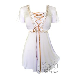 Gothic Victorian Goddess Lace Trim Butterfly Sleeve Babydoll Angel Corset Top In White/Gold