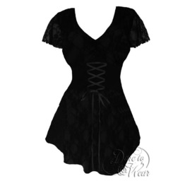 Sexy Black Lace Gothic Victorian Babydoll Butterfly Sleeve Sweetheart Corset Top In Black