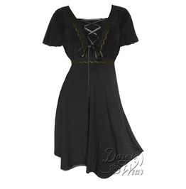 Gothic Victorian Goddess Metallic Lace Butterfly Sleeve A Line Angel Corset Dress In Black