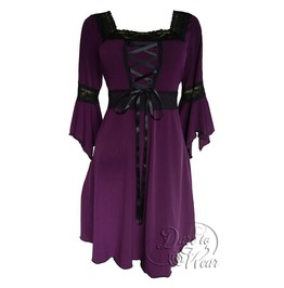 Sexy Gothic Victorian Square Neck Lace Trim Fairy Sleeve Renaissance Corset Dress In Plum