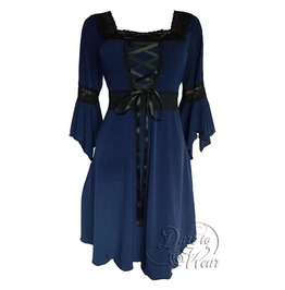 Sexy Gothic Victorian Square Neck Lace Trim Fairy Sleeve Renaissance Corset Dress In Midnight