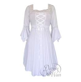 92c6d87fc53 Sexy Gothic Victorian Square Neck Lace Trim Fairy Sleeve Renaissance Corset  Dress In Icing