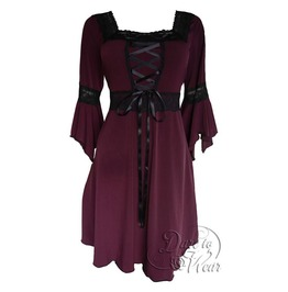 Sexy Gothic Victorian Square Neck Lace Trim Fairy Sleeve Renaissance Corset Dress In Burgundy