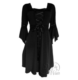 Sexy Gothic Victorian Square Neck Lace Trim Fairy Sleeve Renaissance Corset Dress In Black