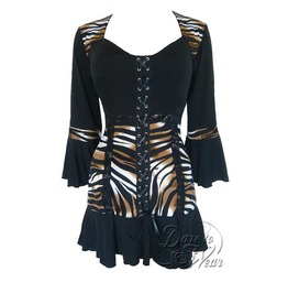 Steampunk Gothic Bell Sleeve Lace Trim Cabaret Corset Top In Wild Side