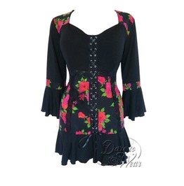 Steampunk Gothic Bell Sleeve Lace Trim Cabaret Corset Top In Rose Noir