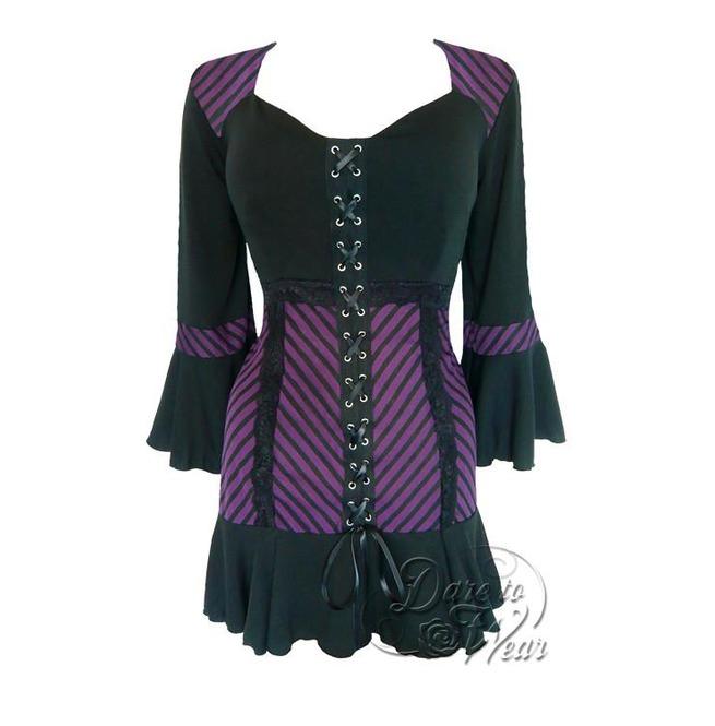 ce7a9fb4ea6 Steampunk Gothic Bell Sleeve Lace Trim Cabaret Corset