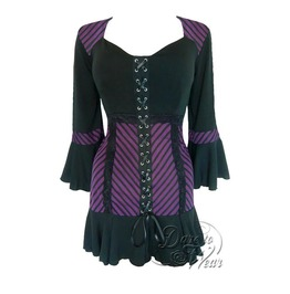 Steampunk Gothic Bell Sleeve Lace Trim Cabaret Corset Top In Purple Maze