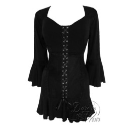 Steampunk Gothic Bell Sleeve Lace Trim Cabaret Corset Top In Black