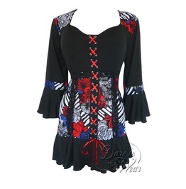 Steampunk Gothic Bell Sleeve Lace Trim Cabaret Corset Top In American Girl