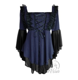 Goth Lolita Square Neck Ruffled Lace Bell Sleeve Fairy Tale Corset Top In Midnight