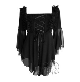 Goth Lolita Square Neck Ruffled Lace Bell Sleeve Fairy Tale Corset Top In Black