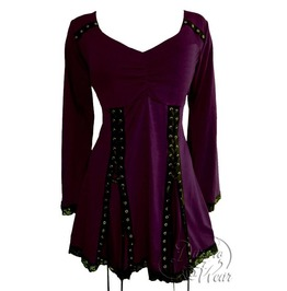Striking Steampunk Gothic Lace Trim Twin Grommet Corset Electra Top In Mulberry