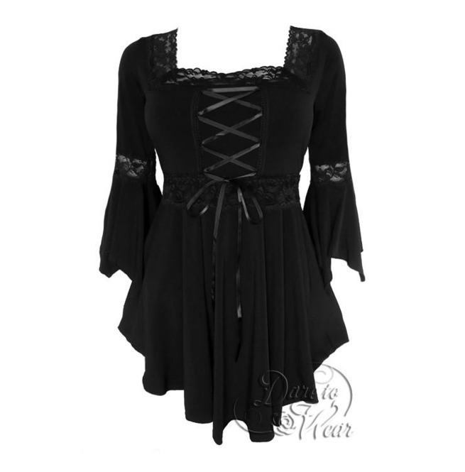 4bc4147ed3 Sexy Gothic Victorian Square Neck Lace Trim Fairy