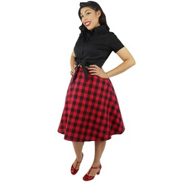 Red And Black Plaid Circle Skirt