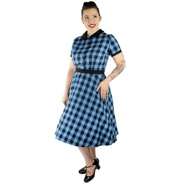 1950s Blue Plaid Picnic Dress Xs 3 Xl