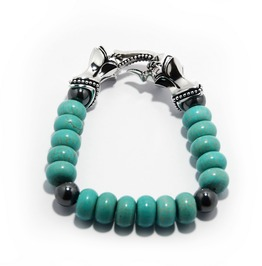 Trojan Horse:2 Stone Bracelet,Silver Bracelet,Bracelet,Unisex,Man's,Rocker