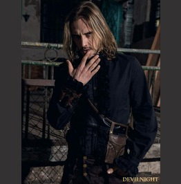Black High Collar Ruffles Steampunk Blouse For Men Spm 010 Bk