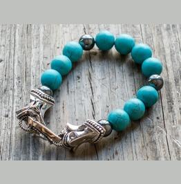 Trojan Horse:2 1 Stone Bracelet,Silver Bracelet,Bracelet,Unisex,Man,Rocker