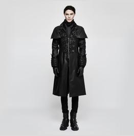 Punk Rave Men's Steampunk Jacquard Faux Leather Long Coat Y802