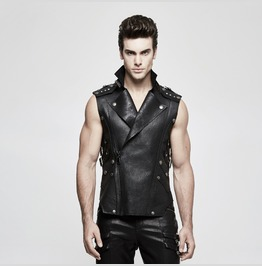 Punk Rave Men's Turn Down Collar Rivets Faux Leather Waistcoat Y812