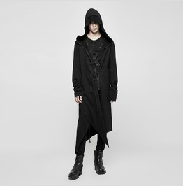 Punk Rave Men's Cropped Casual Long Hooded Cardigan Y817